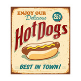 Vintage Hot Dogs Metal Sign Premium Giclee Print by Real Callahan