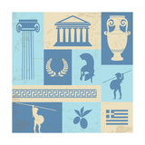 Greece Symbols And Landmarks On Retro Poster Art by  radubalint