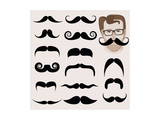 Hipster And Retro Mustaches Posters by  mushakesa