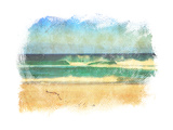 Sea Waves And Blue Sky In A Style Of A Old Painting On Grunge Canvas With Rough Edges Posters by  Lvnel
