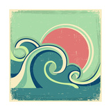 Abstract Seascape Poster With Sea Waves And Sun Print by  GeraKTV