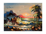 Sea Landscape With Palm Trees And Seagulls Prints by  balaikin2009