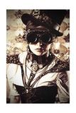 Portrait Of A Beautiful Steampunk Woman Over Vintage Background Posters by  prometeus