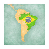 Map Of South America - Brazil (Vintage Series) Posters by  Tindo