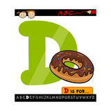 Letter D With Donut Cartoon Illustration Prints by Igor Zakowski