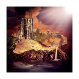 Fairy Tale. Fantasy Castle And Village Art by  Katalinks