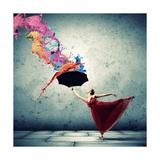 Ballet Dancer In Flying Satin Dress With Umbrella Poster von Sergey Nivens