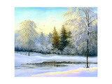 Beautiful Winter Landscape, Canvas, Oil Posters by  balaikin2009