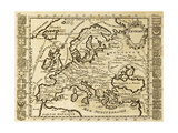 Map Of Europe Framed By National Crests. May Be Dated To The Beginning Of Xviii Sec Posters af  marzolino