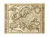 Mapa de Europa Framed por National Crests. May Be Dated aBeginning de Xviii Sec Pósters por  marzolino
