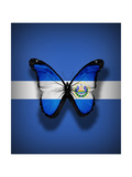 El Salvador Flag Butterfly, Isolated On Flag Background Print by  suns_luck