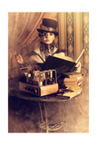 Portrait Of A Beautiful Steampunk Woman Over Vintage Background Art by  prometeus