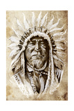 Sketch Of Tattoo Art, Native American Indian Head, Chief, Vintage Style Posters by  outsiderzone