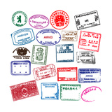 Various Visa Stamps From Passports From Worldwide Travelling Print by VECTOR HERE