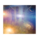 People Soaring Toward Light Amongst Stars Premium Giclee Print by  rolffimages