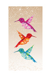 Colorful Humming Birds Illustration Print by  cienpies