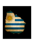 Outline Map Of Uruguay With Grunge Flag Insert Isolated On Black Prints by  Veneratio