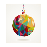 Merry Christmas Circle Bauble With Triangle Composition Premium Giclee Print by  cienpies