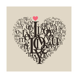 Heart Shape From Letters - Typographic Composition Poster by  feoris