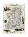 Ireland Old Map. Created By John Tallis, Published On Illustrated Atlas, London 1851 Posters by  marzolino