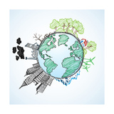 Doodle Image Of Earth And Environment Posters by  Pixelcraft