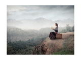 Woman Sitting On A Suitcase And Reading A Book With Landscape On The Background Posters by  olly2
