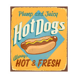 Vintage Tin Sign - Hot Dogs - Raster Version Poster by Real Callahan