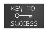 Key To Success Written On A Chalkboard Prints by  IJdema