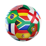 3D Rendering Of A Soccer Ball With Flags Of The Participating Countries In World Cup 2010 Print by  zentilia