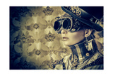 Portrait Of A Beautiful Steampunk Woman Over Vintage Background Prints by  prometeus