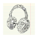 Music Doodles In The Shape Of A Earphones Posters van Alisa Foytik
