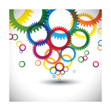 Colorful Abstract Icons of Cogwheel or Gears Poster by  smarnad