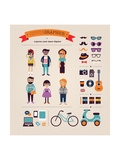Hipster Info Graphic Concept Background With Icons Prints by  Marish