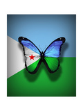 Djibouti Flag Butterfly, Isolated On Flag Background Posters af suns_luck