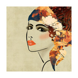 Art Colorful Sketching Beautiful Girl Face On Sepia Background, In Art Deco Style Print by Irina QQQ