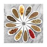 Herb Tea Selection In White Porcelain Dishes Over Marble Background Giclée-Premiumdruck von  marilyna