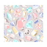 Seamless Pastel Diamonds Pattern. Background With Colorful Gemstones Prints by cherry blossom girl