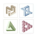 Different Multicolored Optical Illusions Of Unreal Geometrical Objects Poster autor shooarts