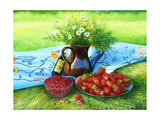 Still-Life With Camomiles And A Strawberry Prints by  balaikin2009