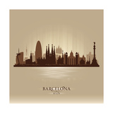 Barcelona Spain City Skyline Premium Giclee Print by  Yurkaimmortal