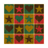 Hearts And Stars, Pop-Art Styled Poster Print by  pashabo
