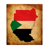 Map Outline Of Sudan With Flag Grunge Paper Effect Plakater af Veneratio