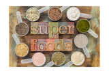 Superfoods Word In Letterpress Wood Type Surrounded By Plastic Scoops Of Healthy Seeds And Powders Prints by  PixelsAway