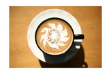 Latte Art, Designs Drawn With Steamed Milk In Hot Fresh Rich Coffee In A Ceramic Coffee Cup Posters by  mikeledray