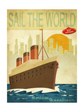 Sail The World - Vintage Poster With Ocean-Liner And Cityscape Posters by  LanaN.