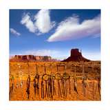 Dreamcatcher Monument West Mitten Butte Morning With Navajo Indian Crafts Utah Premium Giclee Print by  holbox