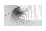 3D Abstract Background Illustration With Helix Made Of White Chamfer Boxes Posters by Eugene Sergeev