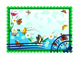 Postage Stamp. Butterflies And Daisies Posters by  GUARDING-OWO