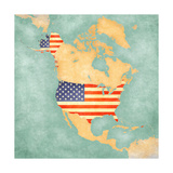 Map of North America - USA (Vintage Series) Posters by  Tindo