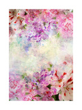 Abstract Ink Painting Combined With Flowers On Grunge Paper Texture Prints by  run4it